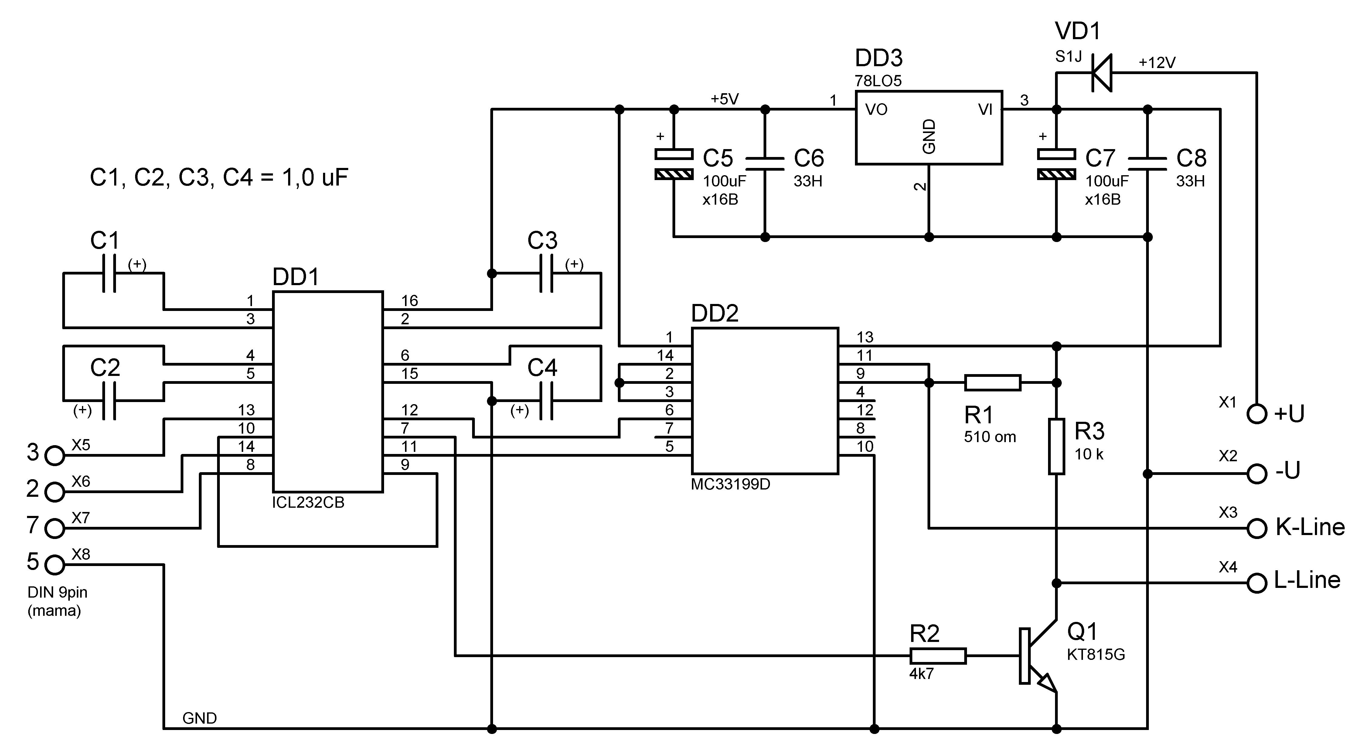 sux Подборка схем адаптеров для работы диагностических программ, собранная на разных Схемы подключения компьютеров к...